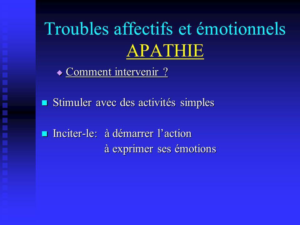 Troubles affectifs et émotionnels APATHIE Comment intervenir ? Comment intervenir ? Stimuler avec des activités simples Stimuler avec des activités si