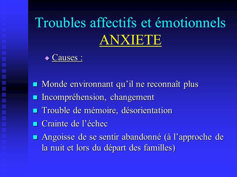 Troubles affectifs et émotionnels ANXIETE Causes : Causes : Monde environnant quil ne reconnaît plus Monde environnant quil ne reconnaît plus Incompré