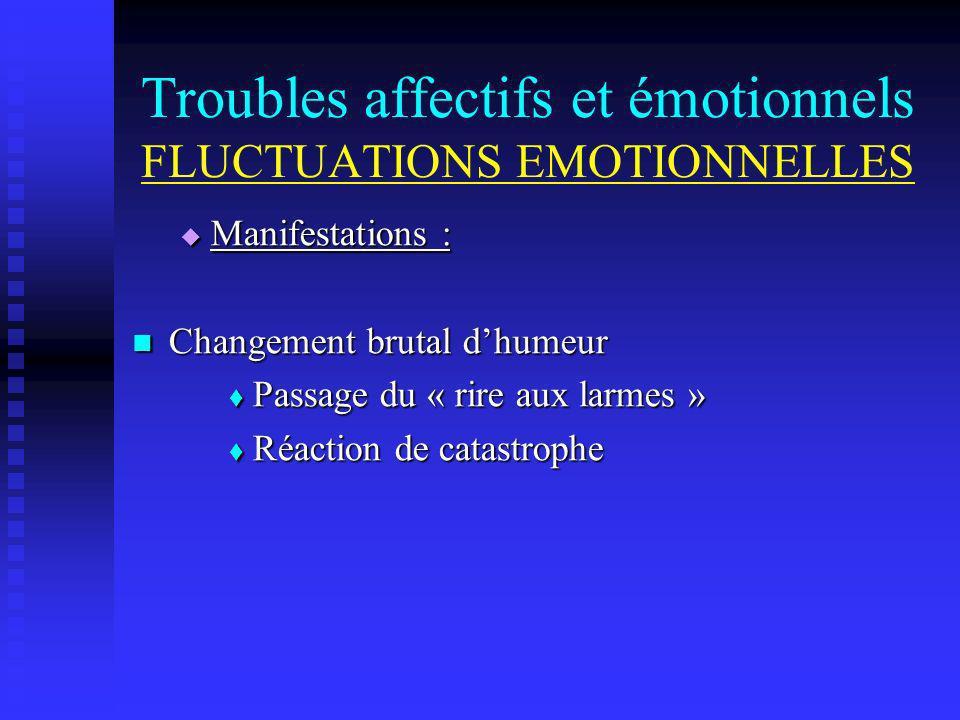 Troubles affectifs et émotionnels FLUCTUATIONS EMOTIONNELLES Manifestations : Manifestations : Changement brutal dhumeur Changement brutal dhumeur Pas
