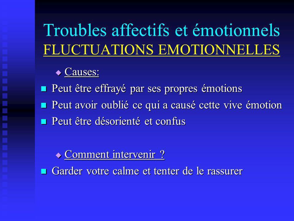 Troubles affectifs et émotionnels FLUCTUATIONS EMOTIONNELLES Causes: Causes: Peut être effrayé par ses propres émotions Peut être effrayé par ses prop