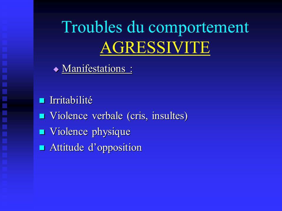 Troubles du comportement AGRESSIVITE Manifestations : Manifestations : Irritabilité Irritabilité Violence verbale (cris, insultes) Violence verbale (c