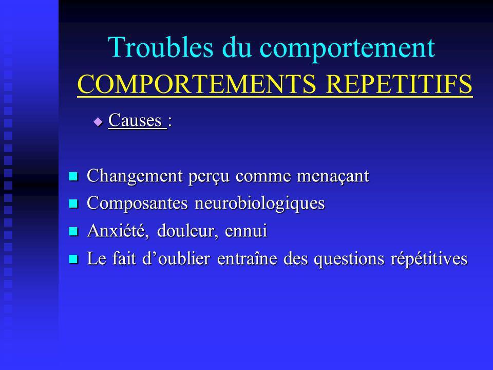 Troubles du comportement COMPORTEMENTS REPETITIFS Causes : Causes : Changement perçu comme menaçant Changement perçu comme menaçant Composantes neurob