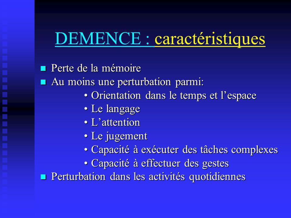 DEMENCE : caractéristiques Perte de la mémoire Perte de la mémoire Au moins une perturbation parmi: Au moins une perturbation parmi: Orientation dans