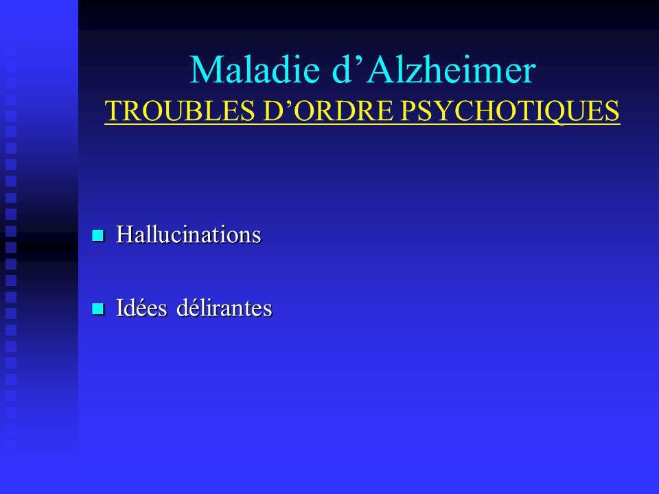 Maladie dAlzheimer TROUBLES DORDRE PSYCHOTIQUES Hallucinations Hallucinations Idées délirantes Idées délirantes
