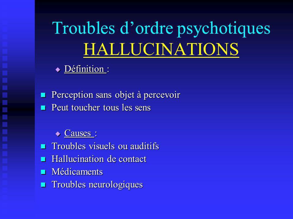 Troubles dordre psychotiques HALLUCINATIONS Définition : Définition : Perception sans objet à percevoir Perception sans objet à percevoir Peut toucher