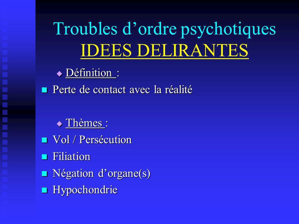 Troubles dordre psychotiques IDEES DELIRANTES Définition : Définition : Perte de contact avec la réalité Perte de contact avec la réalité Thèmes : Thè