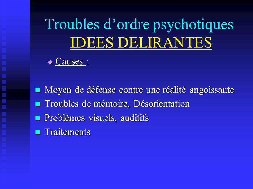 Troubles dordre psychotiques IDEES DELIRANTES Causes : Causes : Moyen de défense contre une réalité angoissante Moyen de défense contre une réalité an