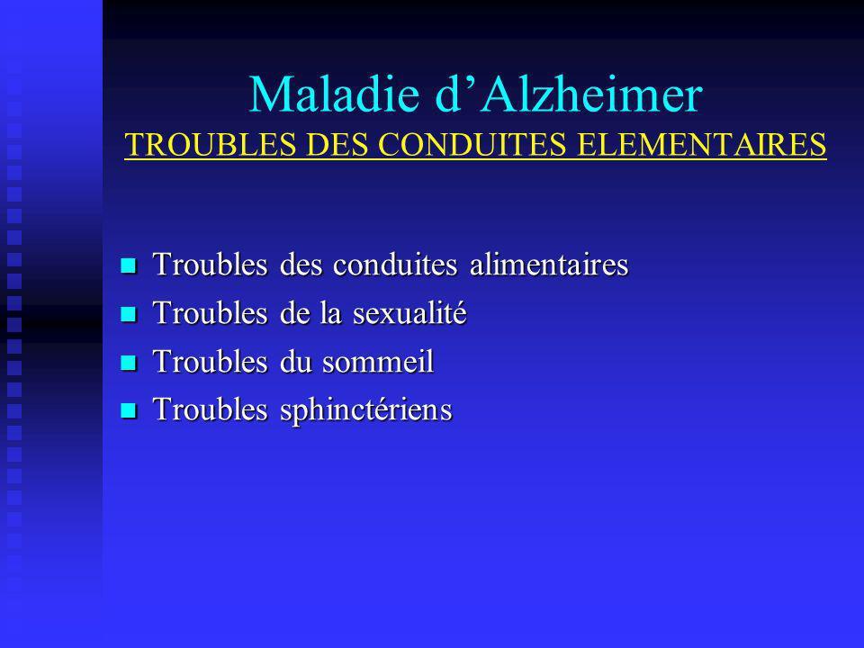 Maladie dAlzheimer TROUBLES DES CONDUITES ELEMENTAIRES Troubles des conduites alimentaires Troubles des conduites alimentaires Troubles de la sexualit