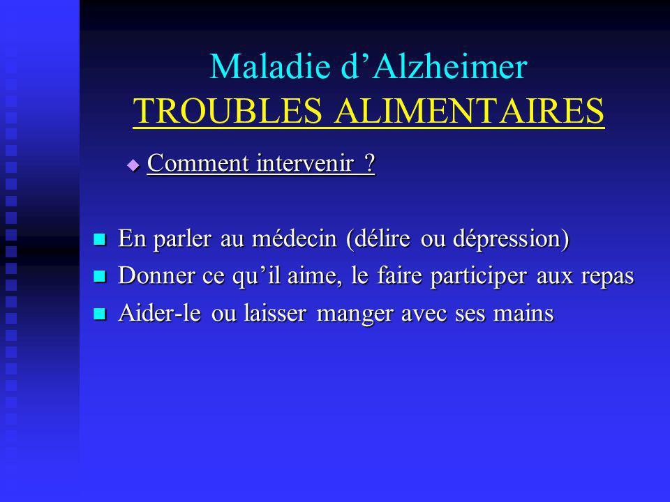 Maladie dAlzheimer TROUBLES ALIMENTAIRES Comment intervenir ? Comment intervenir ? En parler au médecin (délire ou dépression) En parler au médecin (d