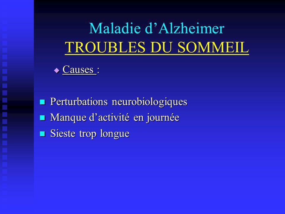 Maladie dAlzheimer TROUBLES DU SOMMEIL Causes : Causes : Perturbations neurobiologiques Perturbations neurobiologiques Manque dactivité en journée Man