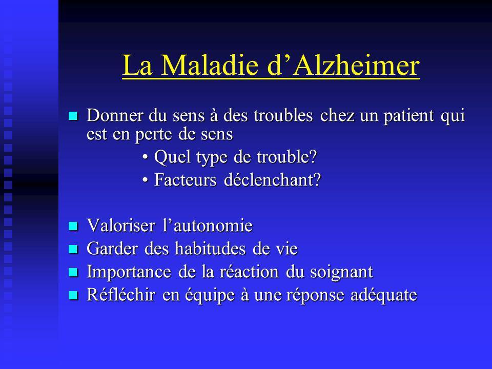 La Maladie dAlzheimer Donner du sens à des troubles chez un patient qui est en perte de sens Donner du sens à des troubles chez un patient qui est en