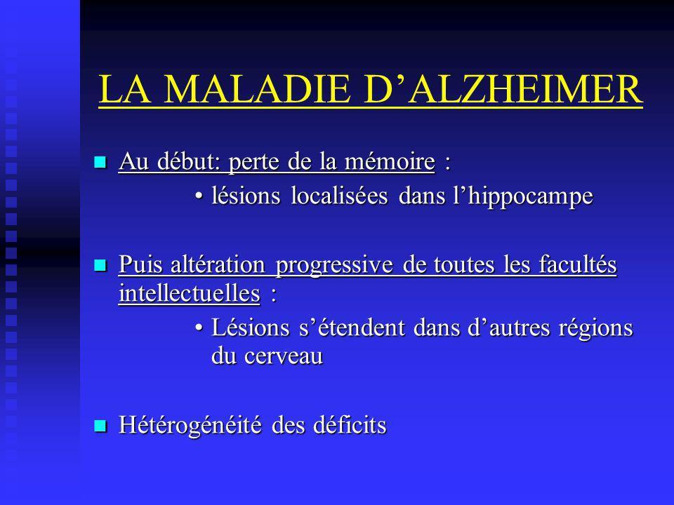 LA MALADIE DALZHEIMER Au début: perte de la mémoire : Au début: perte de la mémoire : lésions localisées dans lhippocampelésions localisées dans lhipp
