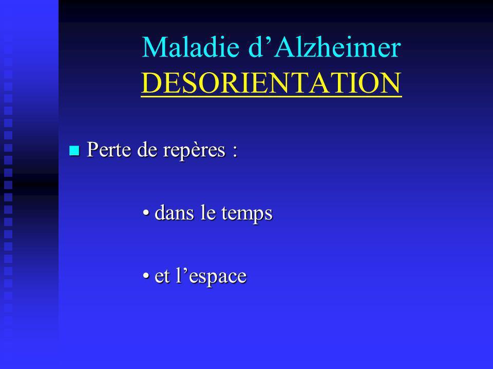 Maladie dAlzheimer DESORIENTATION Perte de repères : Perte de repères : dans le tempsdans le temps et lespaceet lespace