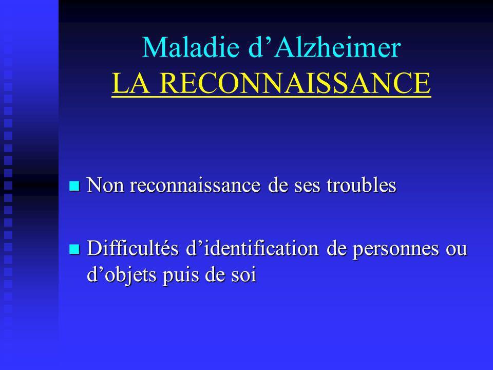Maladie dAlzheimer LA RECONNAISSANCE Non reconnaissance de ses troubles Non reconnaissance de ses troubles Difficultés didentification de personnes ou