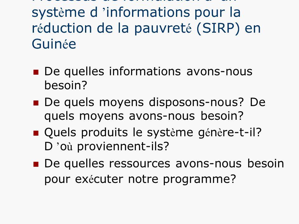 Processus de formulation d un syst è me d informations pour la r é duction de la pauvret é (SIRP) en Guin é e De quelles informations avons-nous besoi