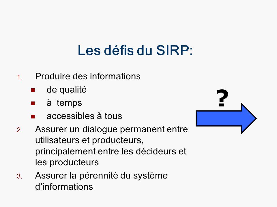 Les défis du SIRP: 1. Produire des informations de qualité à temps accessibles à tous 2. Assurer un dialogue permanent entre utilisateurs et producteu