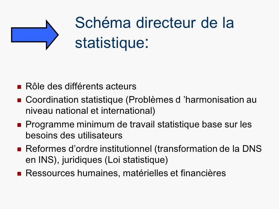 Schéma directeur de la statistique : Rôle des différents acteurs Coordination statistique (Problèmes d harmonisation au niveau national et internation