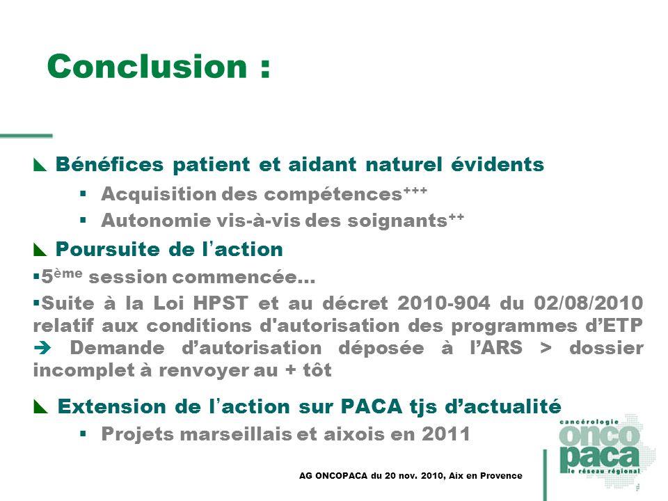 Conclusion : Bénéfices patient et aidant naturel évidents Acquisition des compétences +++ Autonomie vis-à-vis des soignants ++ Poursuite de l action 5