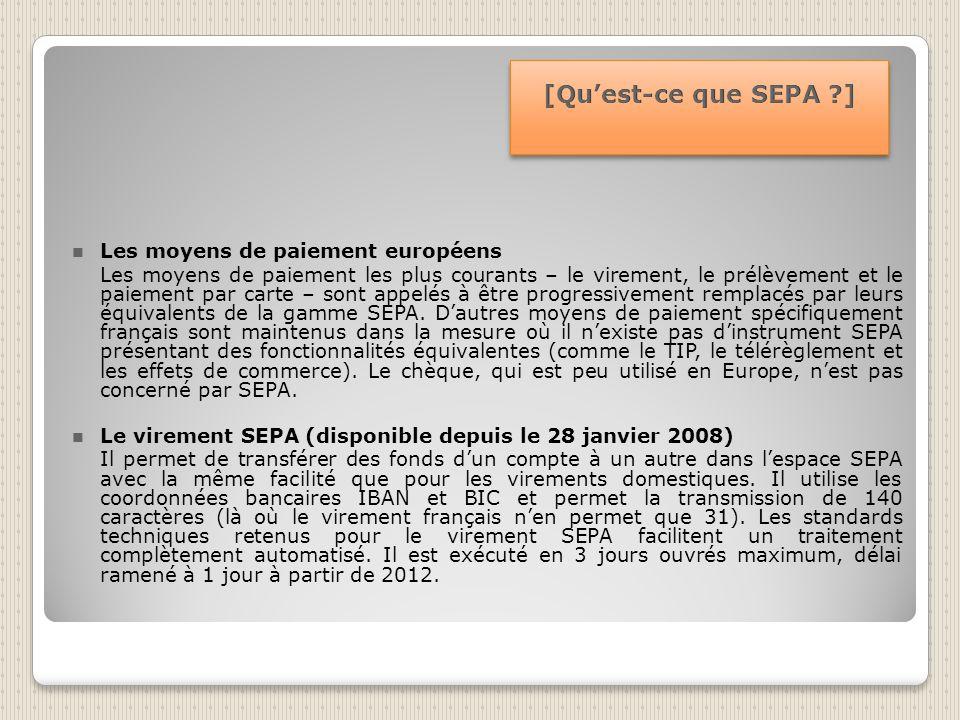 Les moyens de paiement européens Les moyens de paiement les plus courants – le virement, le prélèvement et le paiement par carte – sont appelés à être progressivement remplacés par leurs équivalents de la gamme SEPA.