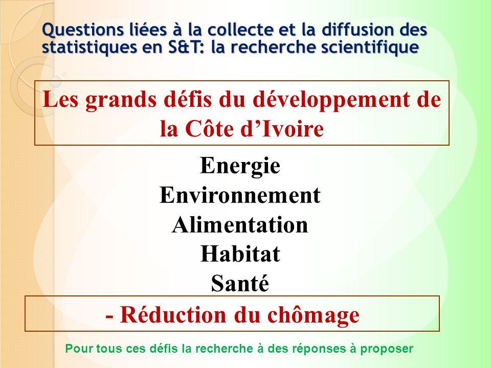 Les grands défis du développement de la Côte dIvoire Energie Environnement Alimentation Habitat Santé - Réduction du chômage Pour tous ces défis la re
