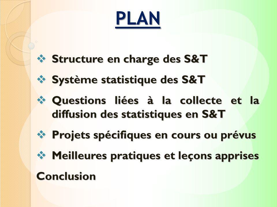 Structure en charge des S&T Structure en charge des S&T Système statistique des S&T Système statistique des S&T Questions liées à la collecte et la di