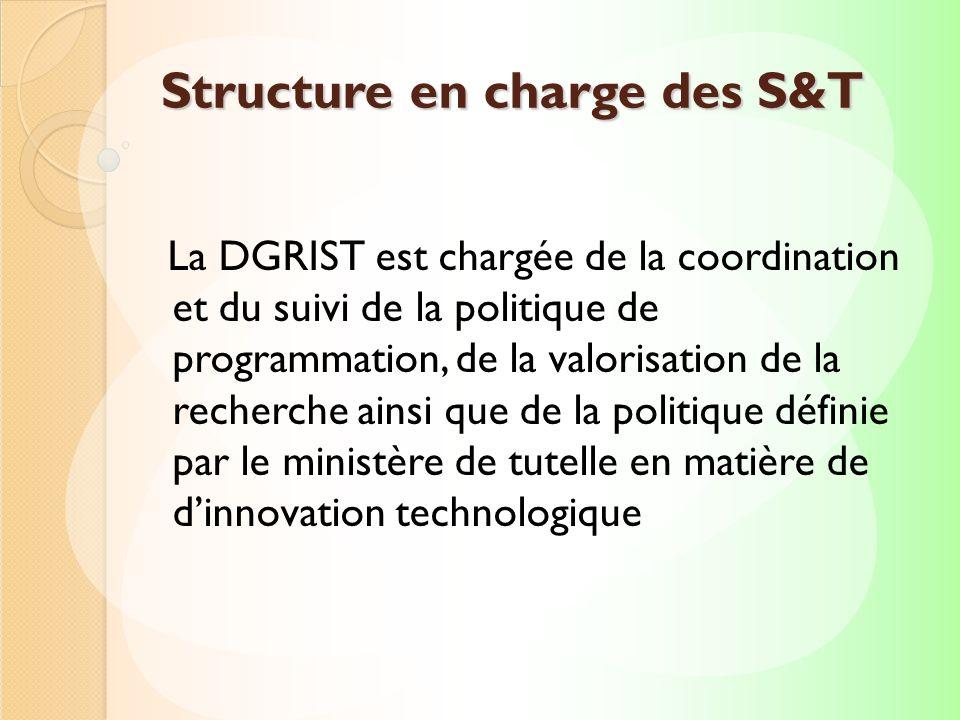 La DGRIST est chargée de la coordination et du suivi de la politique de programmation, de la valorisation de la recherche ainsi que de la politique dé