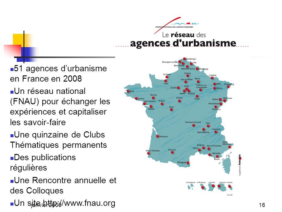 LES AUTRES FINANCEMENTS DES AGENCES EN 2006 en % du budget 2006 ÉtatRégionDépartement Nîmes15,3 %2,0 % Dunkerque8,1 %2,4 %- Besançon10,4 %-18,1 % Le Havre12,0 %2,1 %- Bayonne16,3 %4,6 %26,3 % janvier 200915