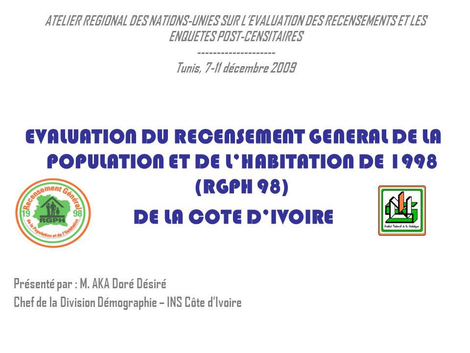ATELIER REGIONAL DES NATIONS-UNIES SUR LEVALUATION DES RECENSEMENTS ET LES ENQUETES POST-CENSITAIRES -------------------- Tunis, 7-11 décembre 2009 EVALUATION DU RECENSEMENT GENERAL DE LA POPULATION ET DE LHABITATION DE 1998 (RGPH 98) DE LA COTE DIVOIRE Présenté par : M.