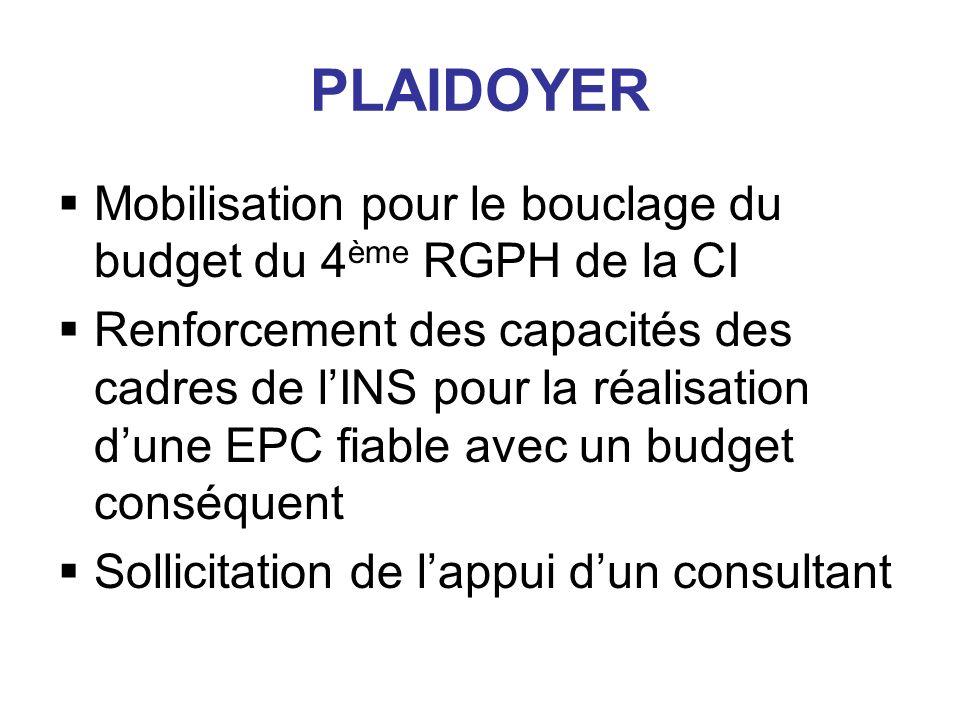 PLAIDOYER Mobilisation pour le bouclage du budget du 4 ème RGPH de la CI Renforcement des capacités des cadres de lINS pour la réalisation dune EPC fiable avec un budget conséquent Sollicitation de lappui dun consultant