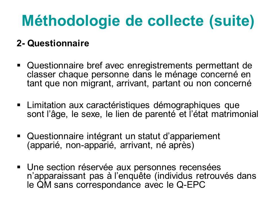 Méthodologie de collecte (suite) 2- Questionnaire Questionnaire bref avec enregistrements permettant de classer chaque personne dans le ménage concern