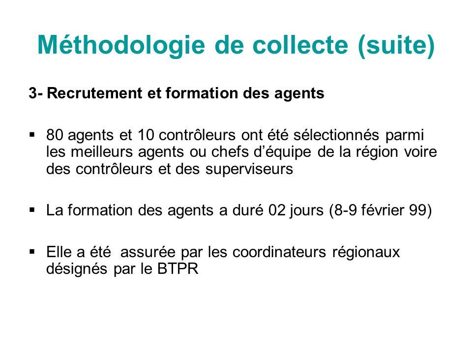 Méthodologie de collecte (suite) 3- Recrutement et formation des agents 80 agents et 10 contrôleurs ont été sélectionnés parmi les meilleurs agents ou