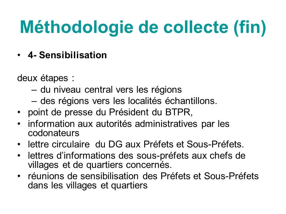 Méthodologie de collecte (fin) 4- Sensibilisation deux étapes : –du niveau central vers les régions –des régions vers les localités échantillons. poin