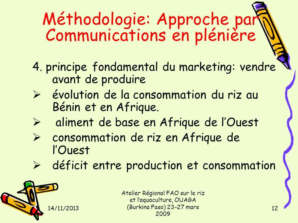 14/11/2013 Atelier Régional FAO sur le riz et laquaculture, OUAGA (Burkina Faso) 23-27 mars 2009 12 Méthodologie: Approche par Communications en pléni