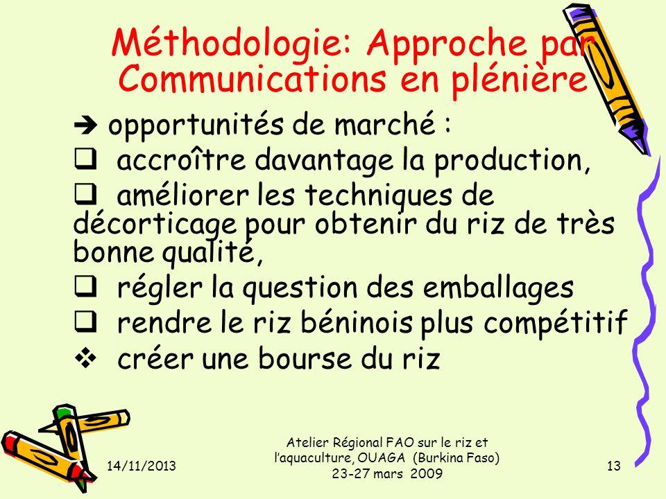 14/11/2013 Atelier Régional FAO sur le riz et laquaculture, OUAGA (Burkina Faso) 23-27 mars 2009 13 Méthodologie: Approche par Communications en pléni