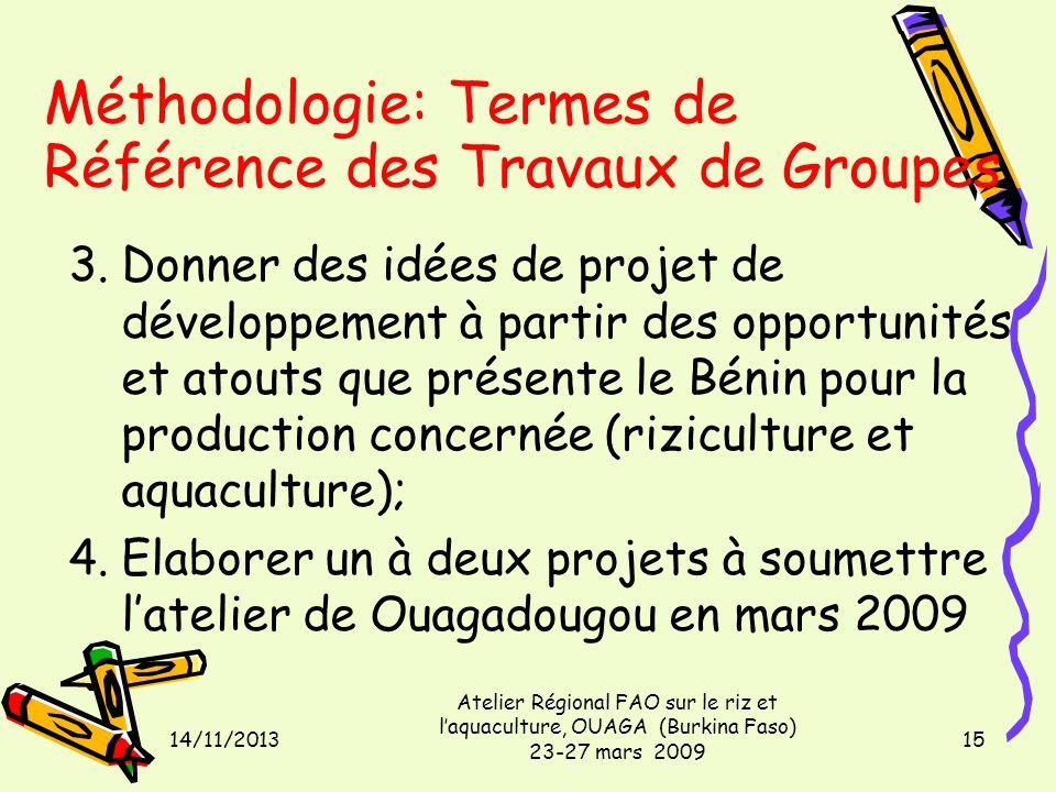 14/11/2013 Atelier Régional FAO sur le riz et laquaculture, OUAGA (Burkina Faso) 23-27 mars 2009 15 Méthodologie: Termes de Référence des Travaux de Groupes 3.Donner des idées de projet de développement à partir des opportunités et atouts que présente le Bénin pour la production concernée (riziculture et aquaculture); 4.Elaborer un à deux projets à soumettre latelier de Ouagadougou en mars 2009