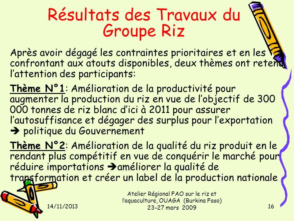 14/11/2013 Atelier Régional FAO sur le riz et laquaculture, OUAGA (Burkina Faso) 23-27 mars 2009 16 Après avoir dégagé les contraintes prioritaires et