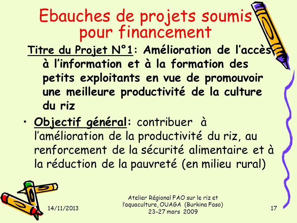 14/11/2013 Atelier Régional FAO sur le riz et laquaculture, OUAGA (Burkina Faso) 23-27 mars 2009 17 Titre du Projet N°1: Amélioration de laccès à linf