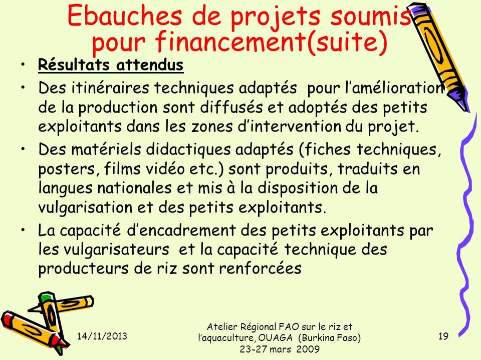 14/11/2013 Atelier Régional FAO sur le riz et laquaculture, OUAGA (Burkina Faso) 23-27 mars 2009 19 Résultats attendus Des itinéraires techniques adap