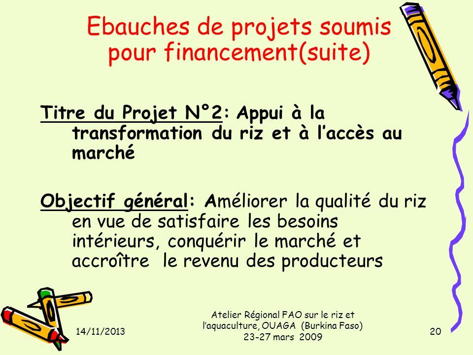 14/11/2013 Atelier Régional FAO sur le riz et laquaculture, OUAGA (Burkina Faso) 23-27 mars 2009 20 Titre du Projet N°2: Appui à la transformation du