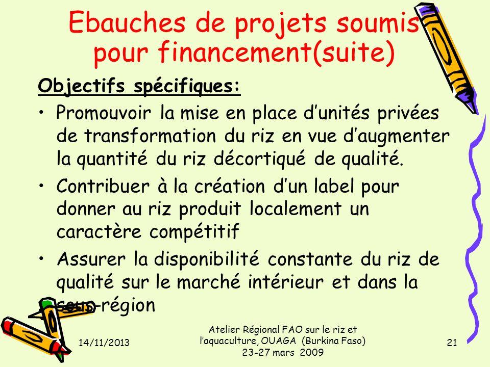 14/11/2013 Atelier Régional FAO sur le riz et laquaculture, OUAGA (Burkina Faso) 23-27 mars 2009 21 Objectifs spécifiques: Promouvoir la mise en place
