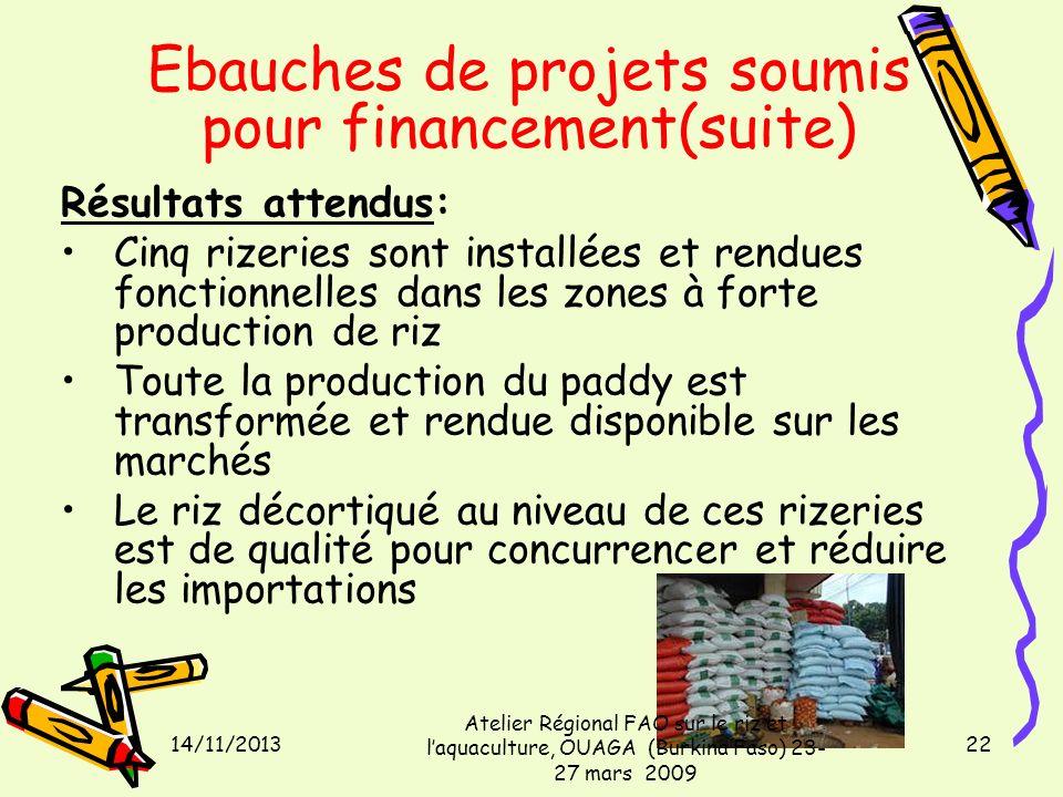 14/11/2013 Atelier Régional FAO sur le riz et laquaculture, OUAGA (Burkina Faso) 23- 27 mars 2009 22 Ebauches de projets soumis pour financement(suite
