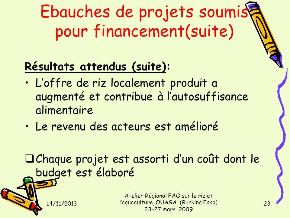 14/11/2013 Atelier Régional FAO sur le riz et laquaculture, OUAGA (Burkina Faso) 23-27 mars 2009 23 Ebauches de projets soumis pour financement(suite)