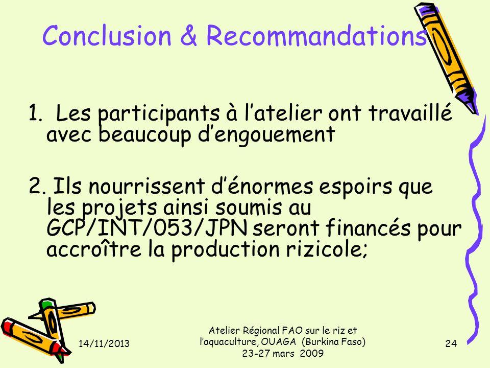 14/11/2013 Atelier Régional FAO sur le riz et laquaculture, OUAGA (Burkina Faso) 23-27 mars 2009 24 Conclusion & Recommandations 1. Les participants à