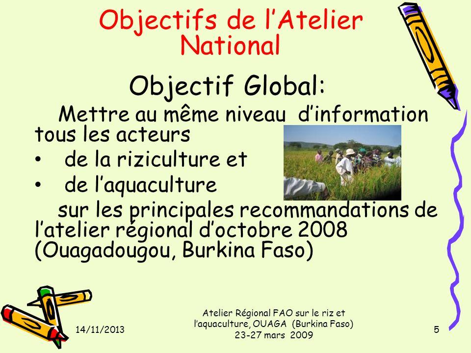 14/11/2013 Atelier Régional FAO sur le riz et laquaculture, OUAGA (Burkina Faso) 23-27 mars 2009 5 Objectifs de lAtelier National Objectif Global: Met