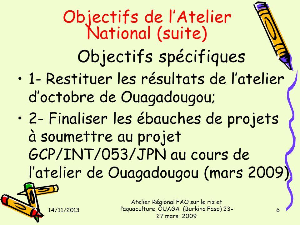 14/11/2013 Atelier Régional FAO sur le riz et laquaculture, OUAGA (Burkina Faso) 23- 27 mars 2009 6 Objectifs de lAtelier National (suite) Objectifs spécifiques 1- Restituer les résultats de latelier doctobre de Ouagadougou; 2- Finaliser les ébauches de projets à soumettre au projet GCP/INT/053/JPN au cours de latelier de Ouagadougou (mars 2009)