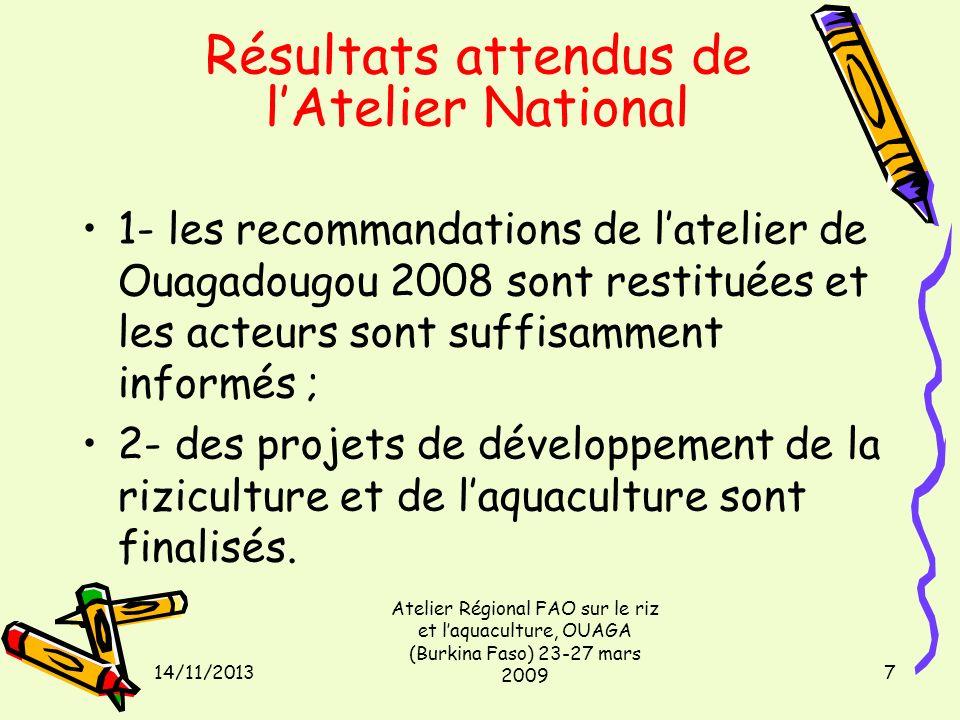 14/11/2013 Atelier Régional FAO sur le riz et laquaculture, OUAGA (Burkina Faso) 23-27 mars 2009 7 Résultats attendus de lAtelier National 1- les reco