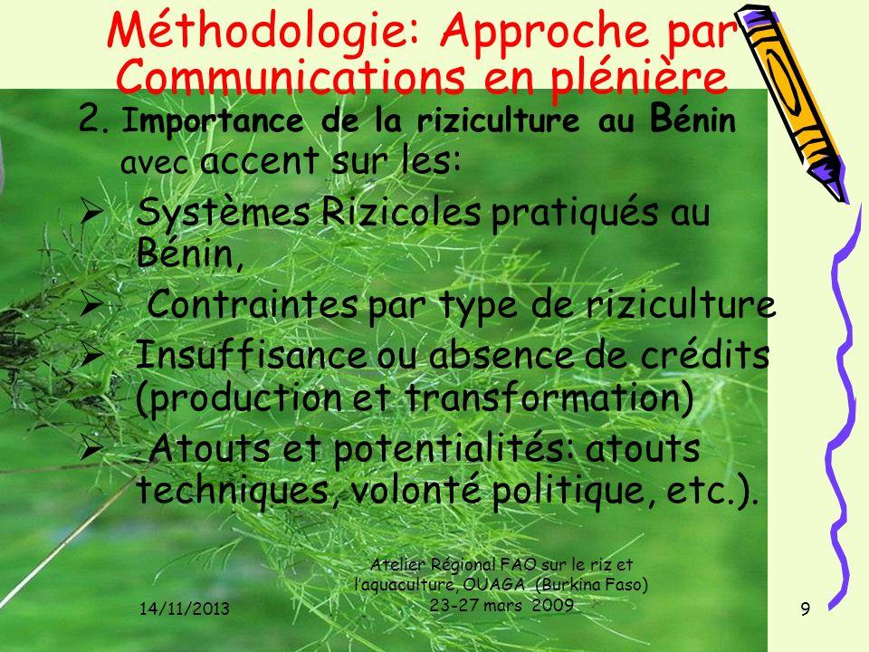 14/11/2013 Atelier Régional FAO sur le riz et laquaculture, OUAGA (Burkina Faso) 23-27 mars 2009 9 Méthodologie: Approche par Communications en pléniè