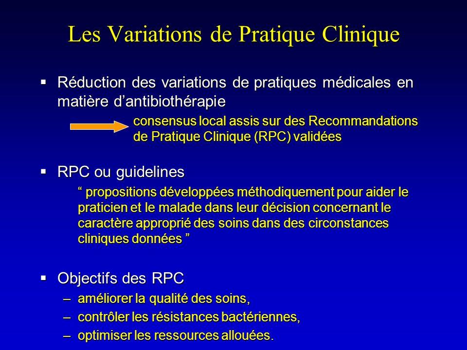Les Variations de Pratique Clinique Réduction des variations de pratiques médicales en matière dantibiothérapie Réduction des variations de pratiques