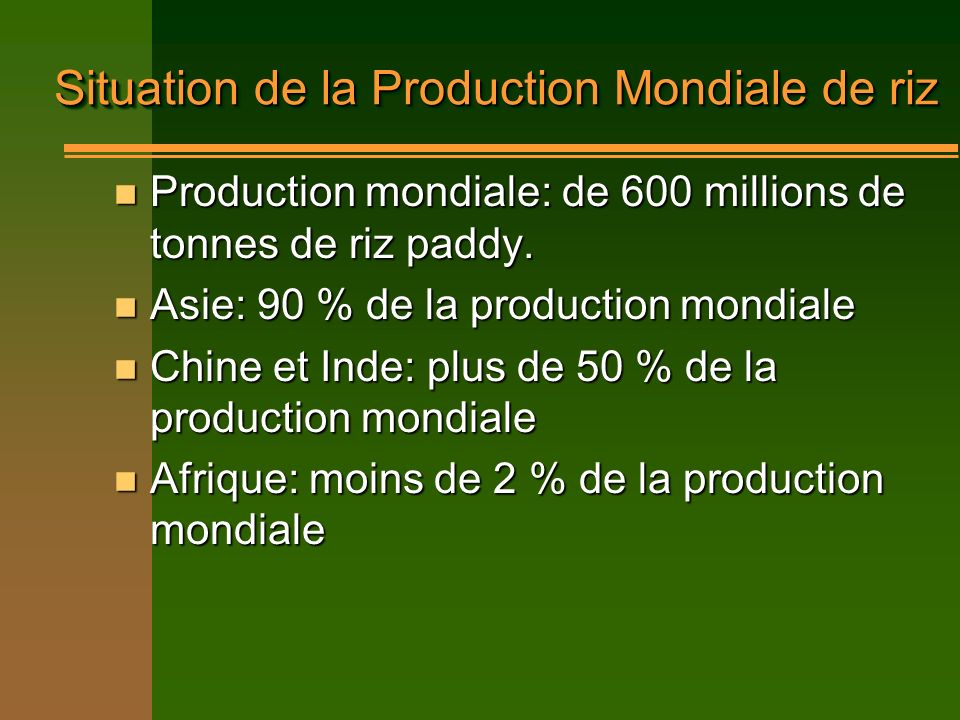 Situation de la Production Mondiale de riz Production mondiale: de 600 millions de tonnes de riz paddy. Production mondiale: de 600 millions de tonnes
