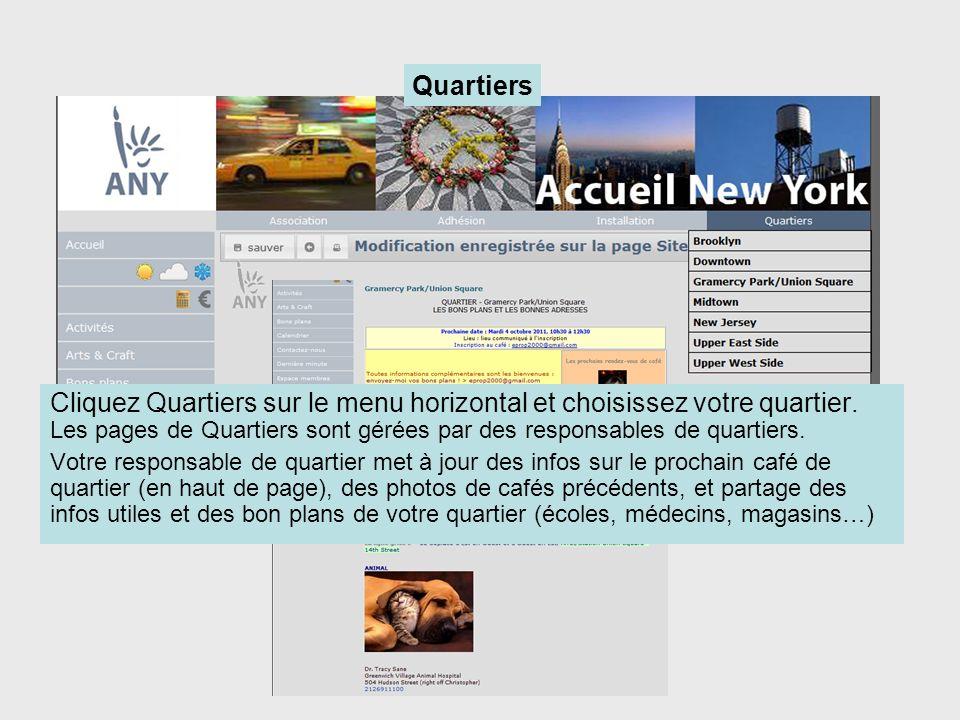 Cliquez Quartiers sur le menu horizontal et choisissez votre quartier. Les pages de Quartiers sont gérées par des responsables de quartiers. Votre res